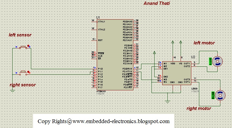 Line Follower Robot Using 8051 Microcontroller Electronic Circuits