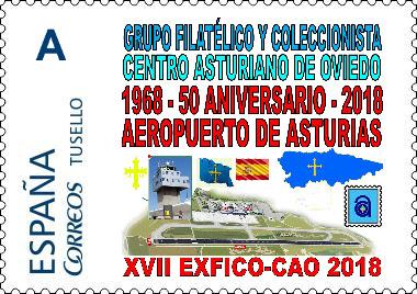 Sello personalizado de la exposición de coleccionismo del Centro Asturiano, 2018