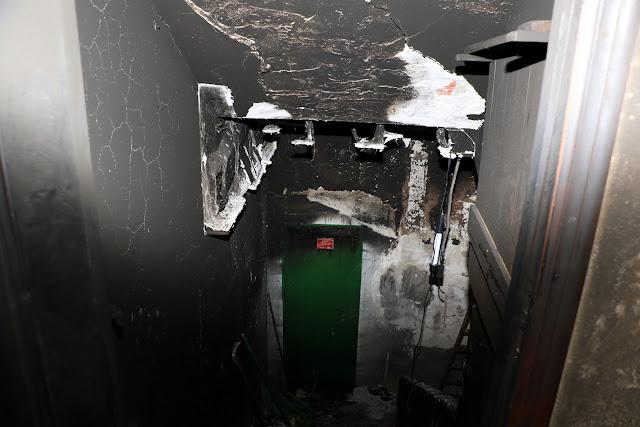Estado del sótano por efecto del incendio