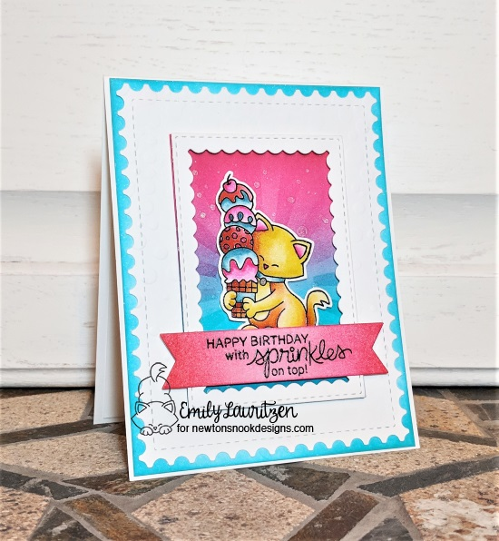 Happy Birthday with sprinkles on top by Emily features Newton's Summer Treats, Summer Scoops, Framework, Bubbly by Newton's Nook Designs; #newtonsnook