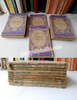 Back-to-School. French Vintage Violet Purple Softback Books, set of Nine CHATEAUBRIAND and MOLIERE Authors.