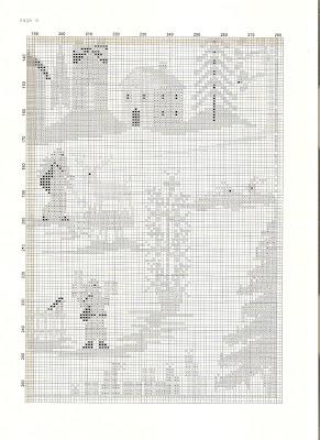 raccolta schemi cross stich free ,grande quadro primitive, paesaggio con neve per natale