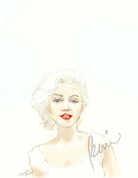 Marilyn Monroe portrait fashion illustration