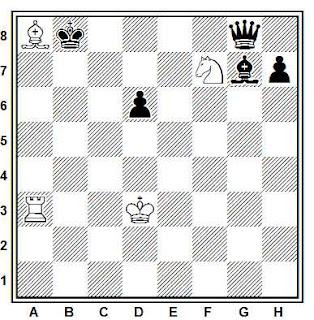 Estudio artístico de ajedrez compuesto por V. Korolkov y V. Chejover (1º Premio, Match Druybi 1962-65)