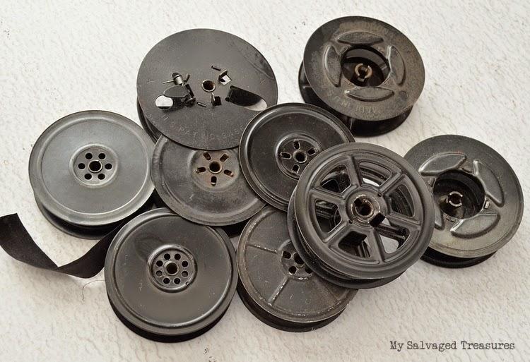 empty typewriter ribbon spools for repurposing