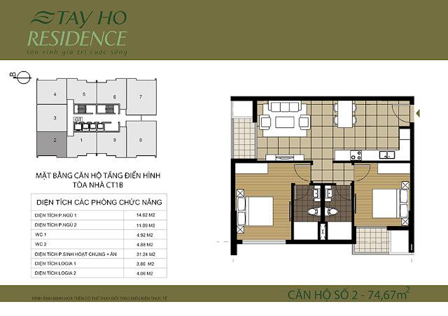 3.2. Mặt bằng căn hộ Lake View 1B-Chung cư Tây Hồ Residence