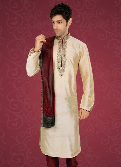 Charming Cream Art Dupion Silk Kurta Pyjama