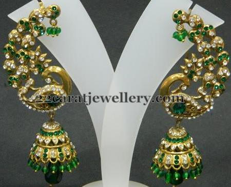Colored Stones Jhumka Sets Jewellery Designs