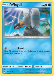 Wingull Sun and Moon Pokemon Card