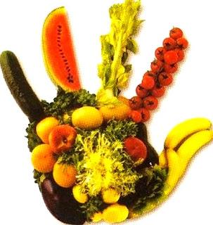Imagen alusivo al Día Mundial de la Alimentación  (Manos con verduras y frutas)