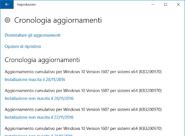 Windows 10 Cronologia aggiornamenti
