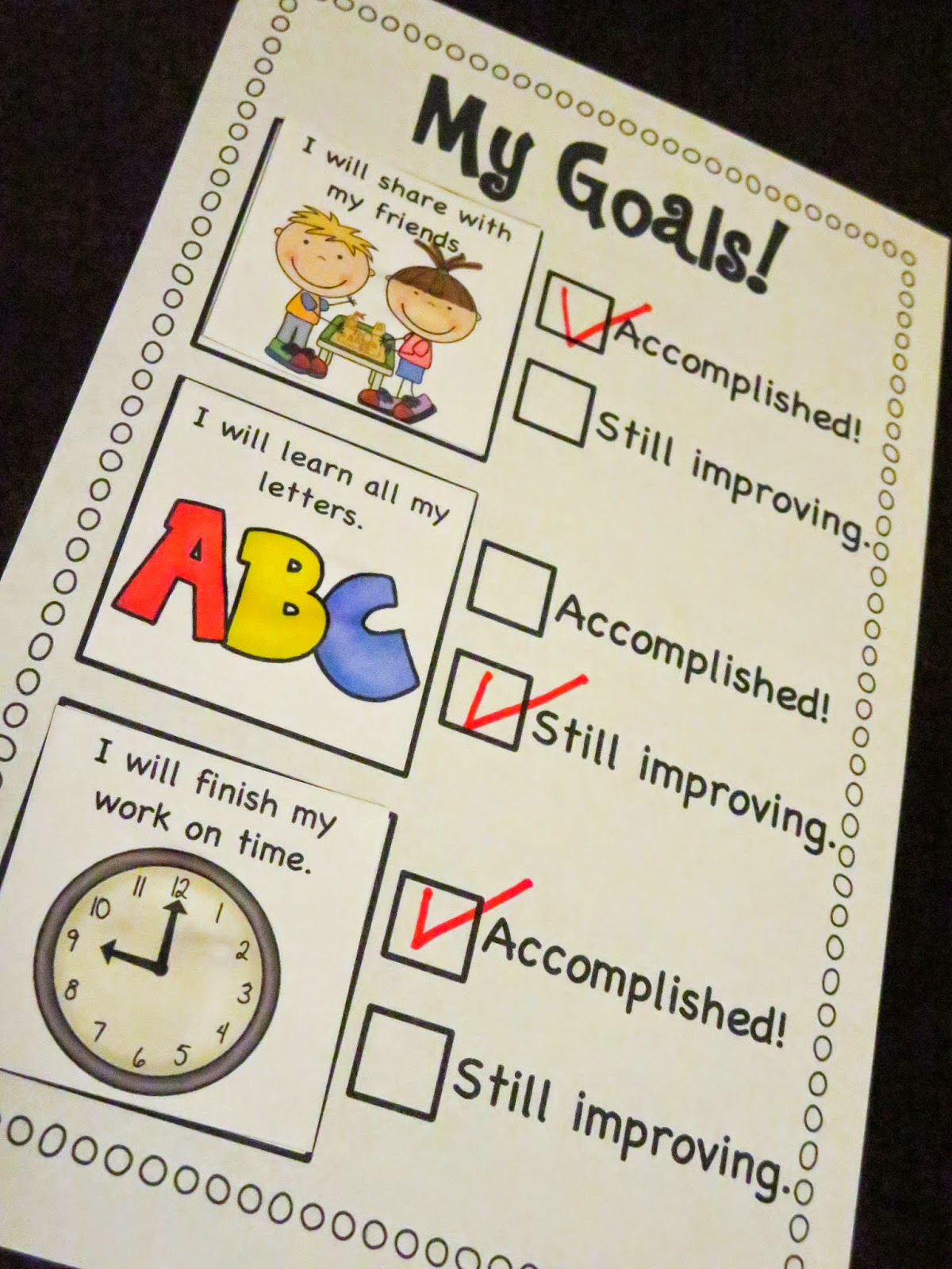 Mrs Ricca S Kindergarten Goal Setting Checklist Freebie