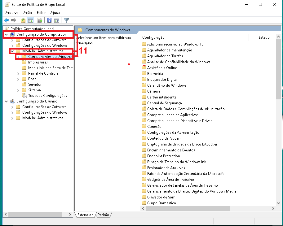 """11-  em  """"Configurações do Computador"""" navegue abrindo as opções """"Modelos Administrativos"""" e depois """"Componentes do Windows""""."""