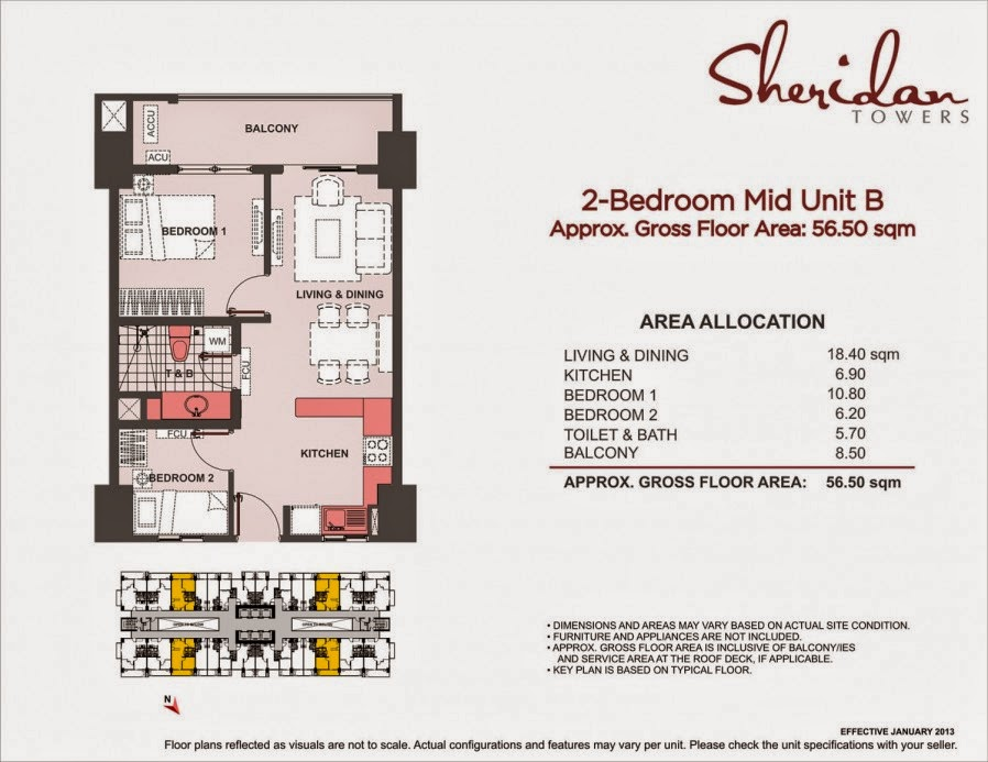 Sheridan Towers 2-Bedroom Unit-B 56.50 sqm