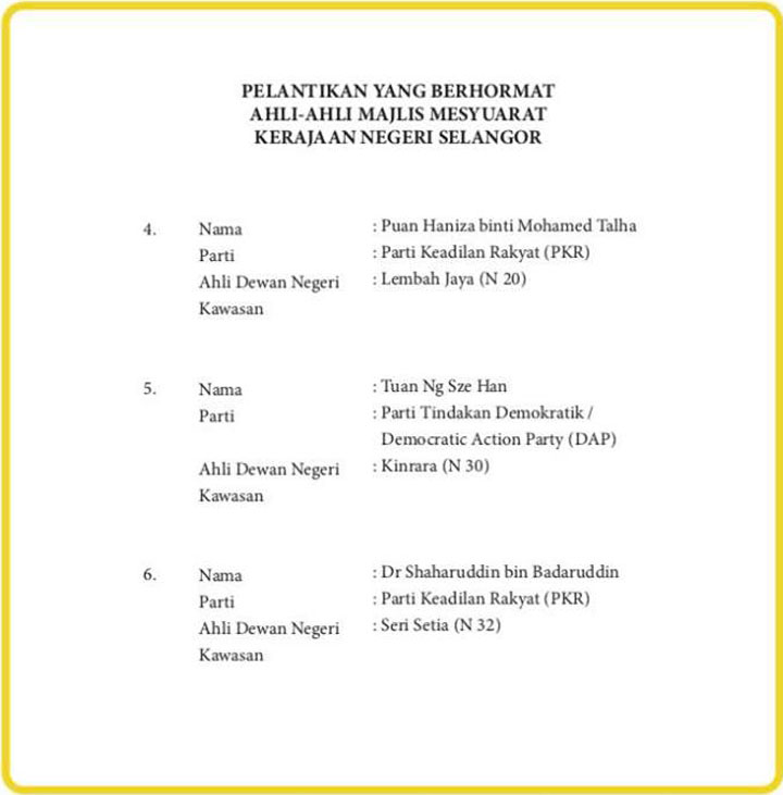 Senarai Exco Baru Kerajaan Negeri Selangor 2018