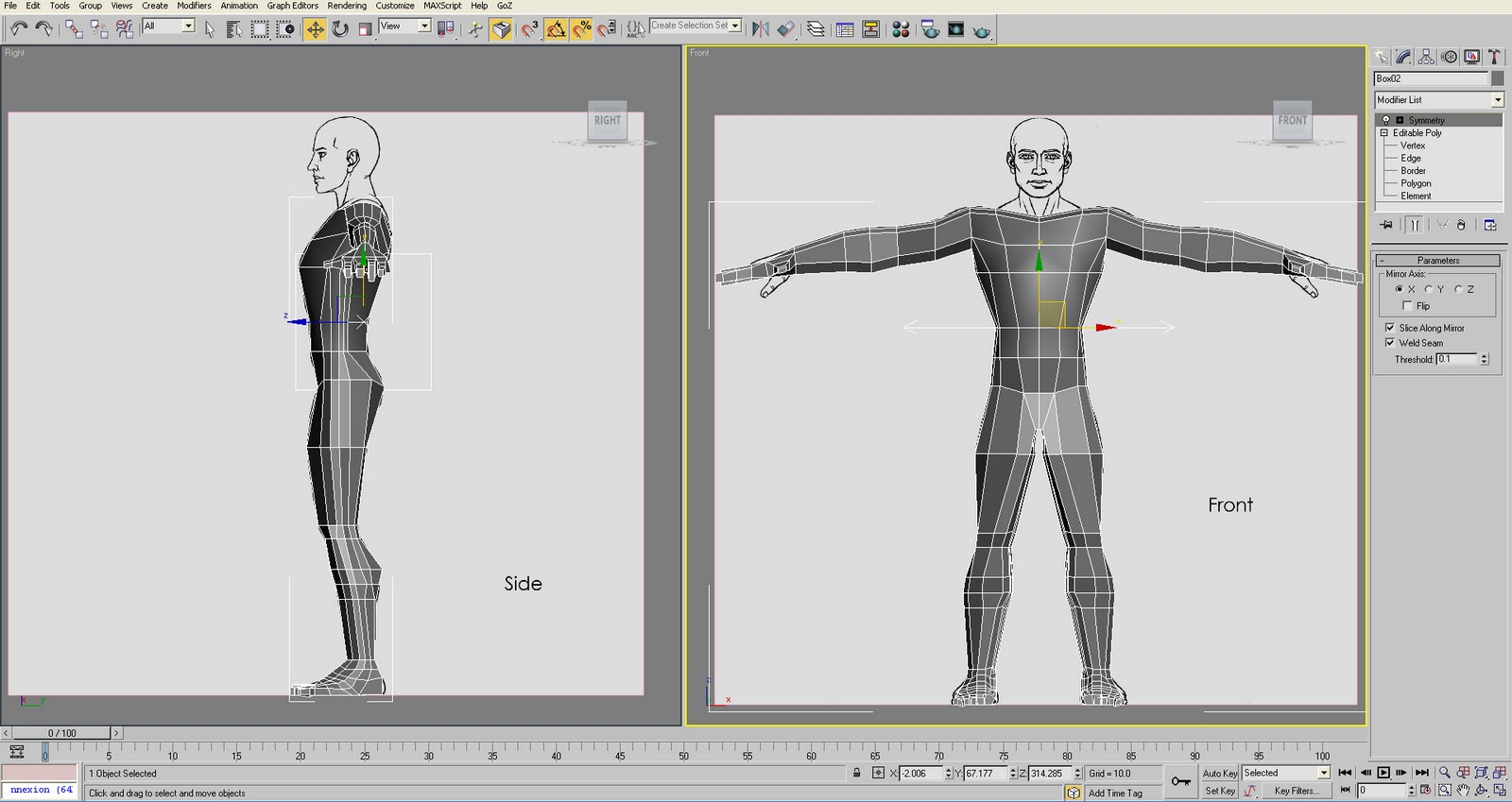 how to create human body in 3ds max