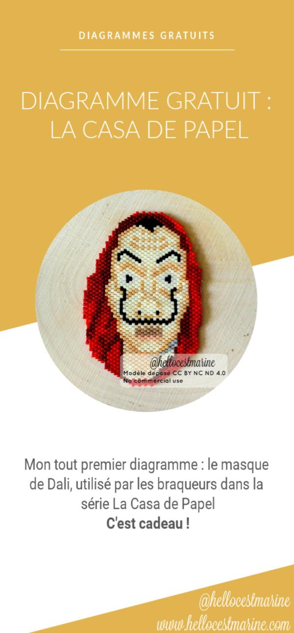 diagramme gratuit la casa de papel, serie netflix, espagnole, pour tissage en perles miyuki delicas 11/0, pinterest