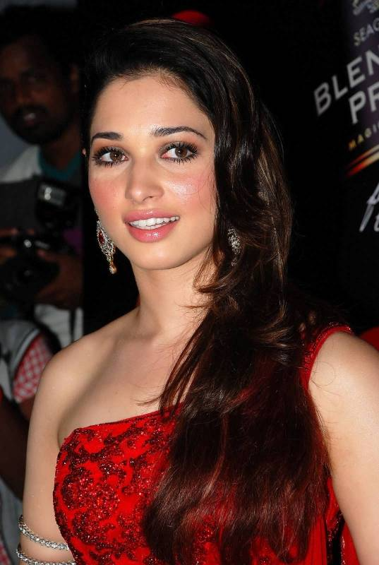 Milky White Beauty Tamannaah Bhatia Smiling Face Close Up Photos In Red Dress