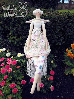 rag doll, tilda, white, garden, Glasgow, cotton, Lewis & Irene, angel, spring rabbit, fabric, braided hair, Fairt Trade Fabric, cotton yarn,