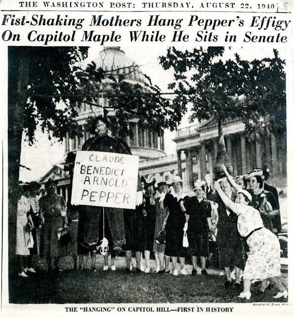 22 August 1940 worldwartwo.filminspector.com Claude Pepper hung in effigy