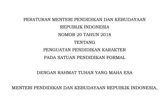Permendikbud Nomor 20 Tahun 2018 tentang Penguatan Pendidikan  aksara Satuan Pendidikan Formal