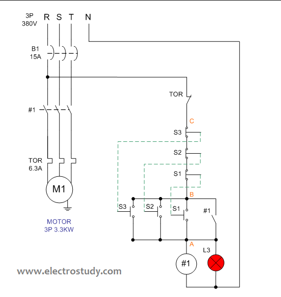 wiring diagram 3 phase motor 3.3 kw with three unit of bsh 222 switch |  electrostudy  electrostudy