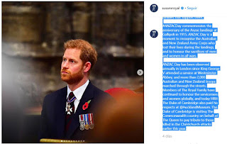 Today, The Duke of Sussex attends the #ANZACday service at Westminster Abbey with The Duchess of Cambridge and The Duke of Gloucester.  The Duke and Duchess of Sussex attended this service last year in addition to the dawn service. They also paid their respects at the #ANZAC memorial in Sydney during their official tour last fall. Having devoted ten years of service to military duty, including two tours in Afghanistan, The Duke completed his time of service with four weeks with the Australian Defence Force. Their Royal Highnesses remain committed to supporting serving members of the Armed Forces, veterans and the families that support them.  #ANZACDay commemorates the anniversary of the Anzac landings at Gallipoli in 1915. ANZAC Day is a moment to recognise the Australian and New Zealand Army Corps who lost their lives during the landings, and to honour the sacrifices of men and women in all wars.  ANZAC Day has been observed annually in London since King George V attended a service at Westminster Abbey, and more than 2,000 Australian and New Zealand troops marched through the streets. Members of The Royal Family have continued to honour the servicemen and women globally, and today HRH The Duke of Cambridge also paid his respects at @AucklandMuseum. The Duke of Cambridge is visiting The Commonwealth country on behalf of The Queen to pay tribute to those killed in the Christchurch attacks earlier this year.