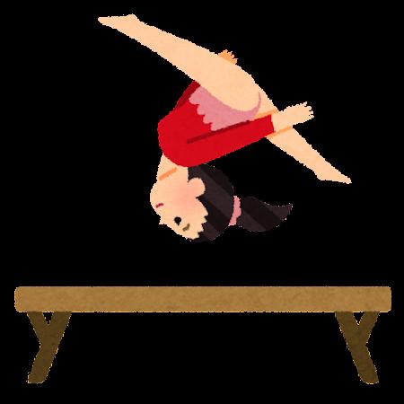 女子の体操競技のイラスト(平均台)