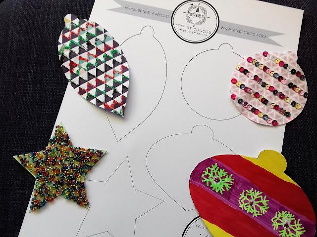 Atelier créatif du mercredi enfant gratuit à imprimer décoration de boules de Noël Tête de Coucou
