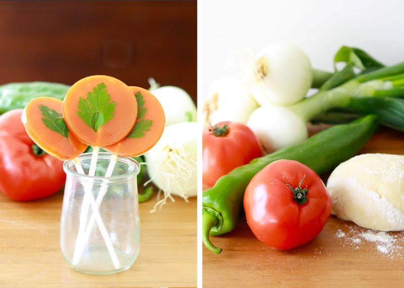 gazpacho, piruleta, lollipop, tomate, pepino español, tomato, cucumber