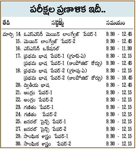 TS Telangana SSC Tenth exam Time Table 2017