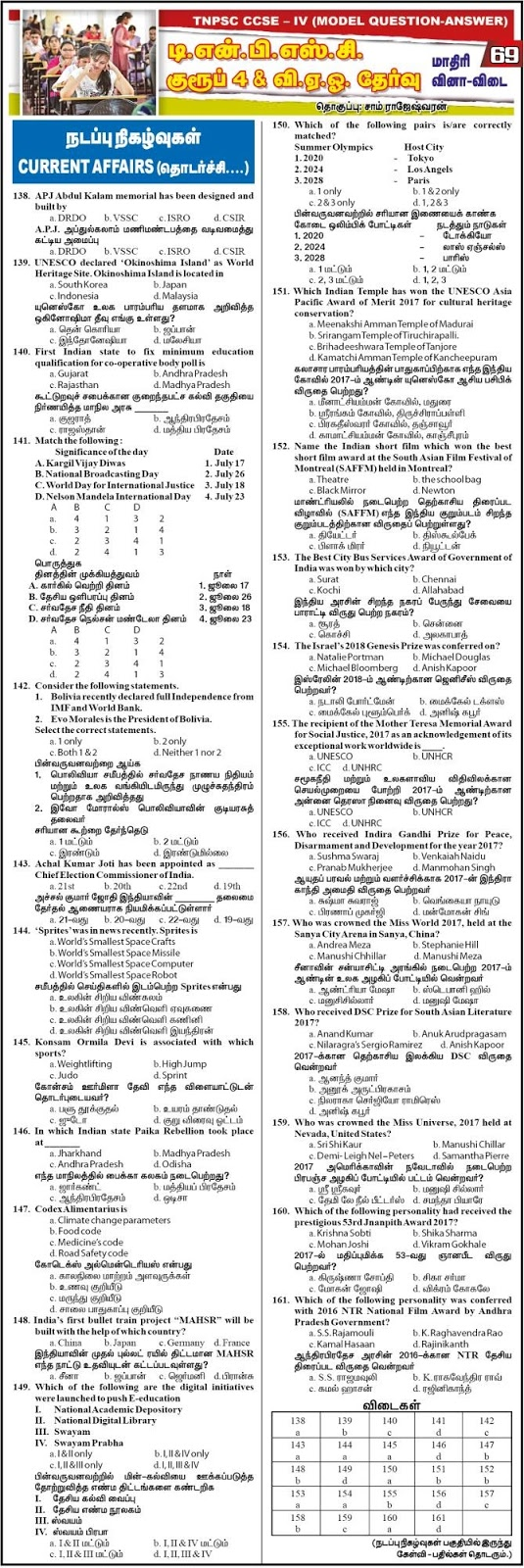 TNPSC Group 4 Current Affairs Model Papers - Dinathanthi Feb 5, 2018, Download as PDF