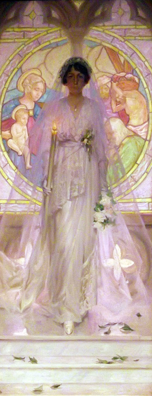 Retrato de boda de María, Francisco Pons Arnau, Pintor español, Pintor Valenciano, Pintura Valenciana, Impresionismo Valenciano, Pintor Pons Arnau, Retratos de Pons Arnau