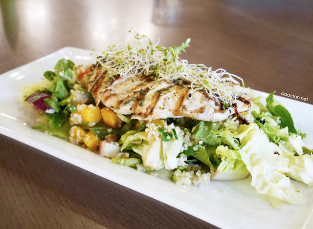 Char-Grilled Chicken Breast with Quinoa-Mango-Cilantro Salad