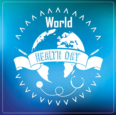 graphic of the globe on a blue background with text over banner: World Health Day. Graphic of needles and stethascope
