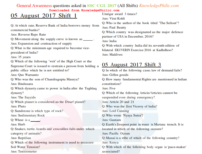 GENERAL KNOWLEDGE PDF FOR SSC EBOOK