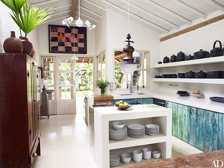 Rustic decor in a Brazilian beach house kitchen on Hello Lovely Studio