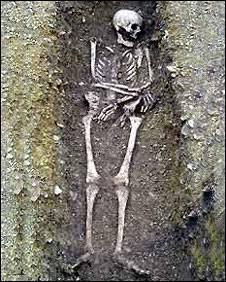 dead body in grave