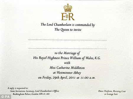 Prince William & Kate Middleton Wedding Invite!