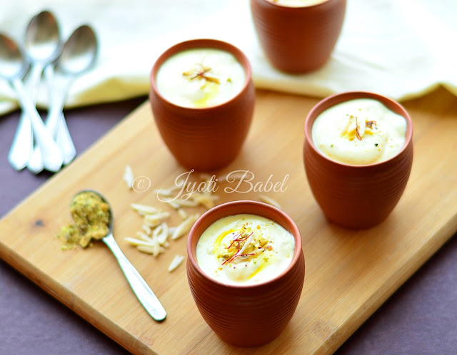 Shrikhand is the Indian flavoured thick yogurt. It is typically flavoured with cardamom and saffron. Check out my shrikhand recipe here.