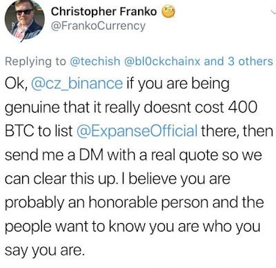 Cryptowhispers: Binance Token Listing Quote – 400 BTC, $2.5 Million