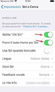 Comandi vocali iOS