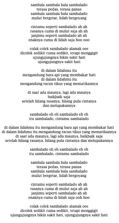 Lirik Lagu Ayu Ting-Ting Sambalado