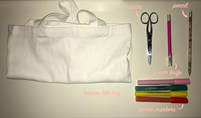DIY Fruit Tote Bag materials
