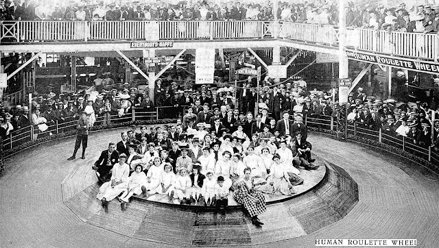 photograph of a human roulette wheel at a 1907 amusement park