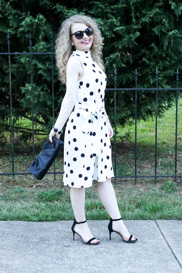 Ann Taylor Belted Dot Dress