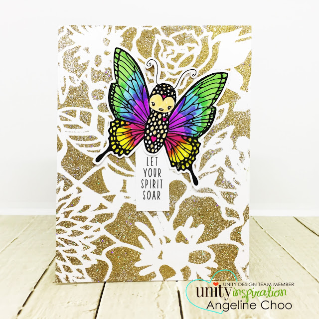 ScrappyScrappy: April Unity Stamp Blog Hop - Cuddlebug Butterfly #scrappyscrappy #unitystampco #cuddlebug #youtube #quicktipvideo #video #card #cardmaking #papercraft #stamp #stamping #cuddlebugbutterfly #butterfly #rainbowbutterfly #embossstencil #dearlizzy #africangold #glitteremboss