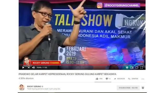 Rocky Gerung Singgung Karpet Prabowo yang Bisa Digelar di Istana, Penonton Langsung Riuh