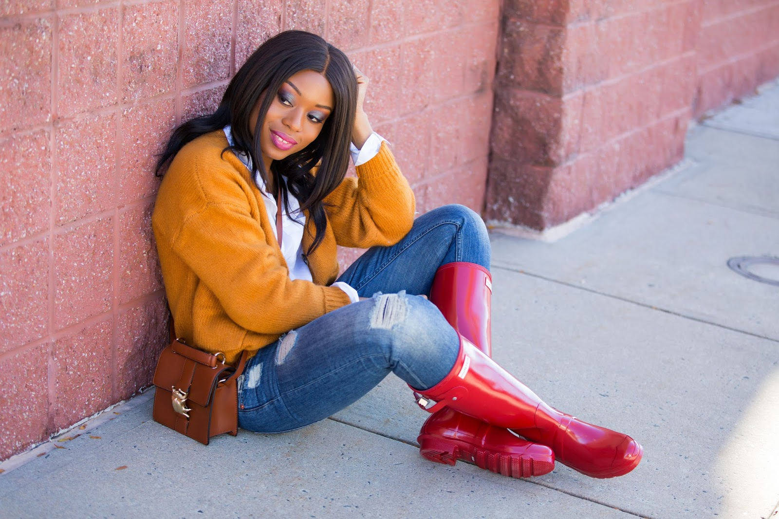 Casual in hunter boots, www.jadore-fashion.com