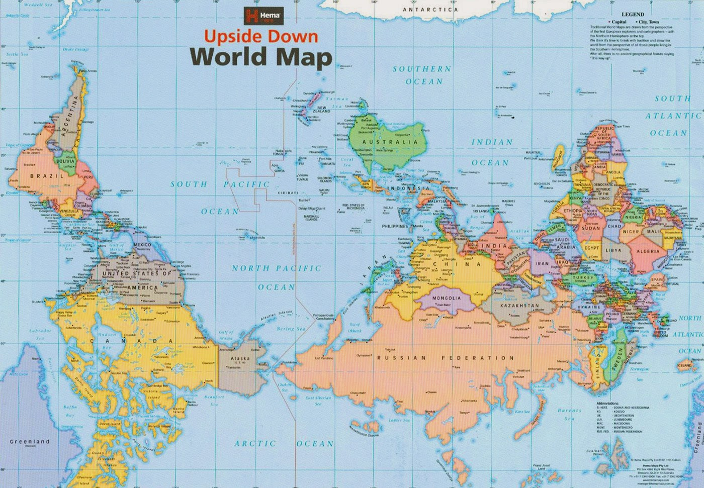 карта мира взгляд из Австралии